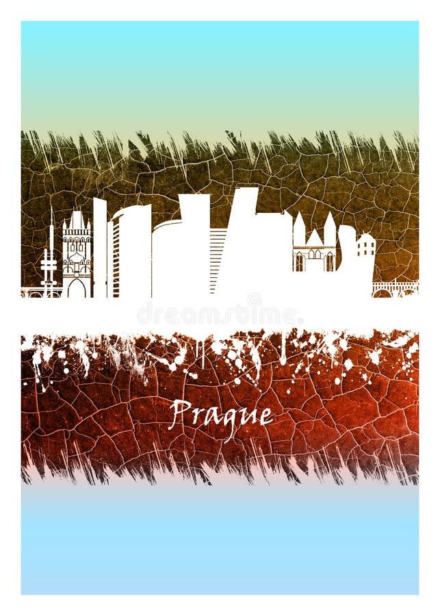 Horizon de Prague bleu et blanc illustration libre de droits