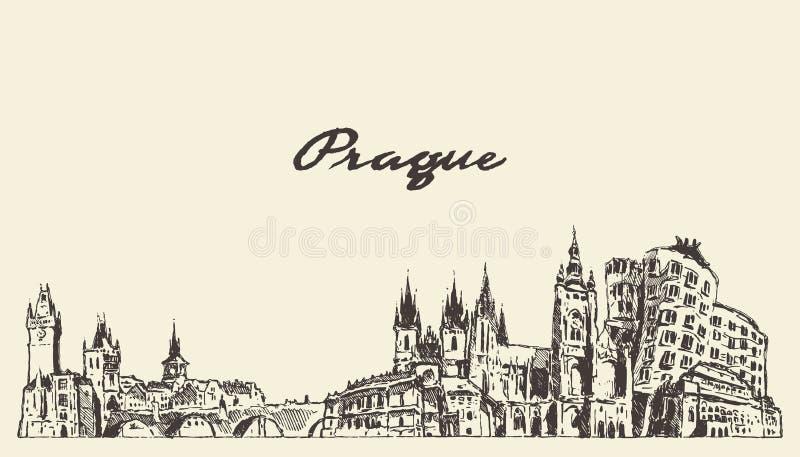 Horizon de Prague, croquis tiré de vecteur de République Tchèque illustration stock