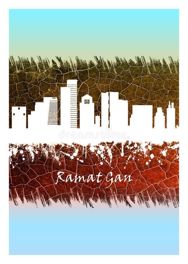 Horizon de Ramat Gan bleu et blanc illustration stock
