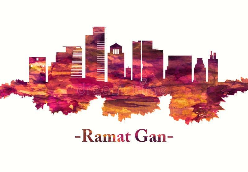 Horizon de Ramat Gan Israel en rouge illustration de vecteur