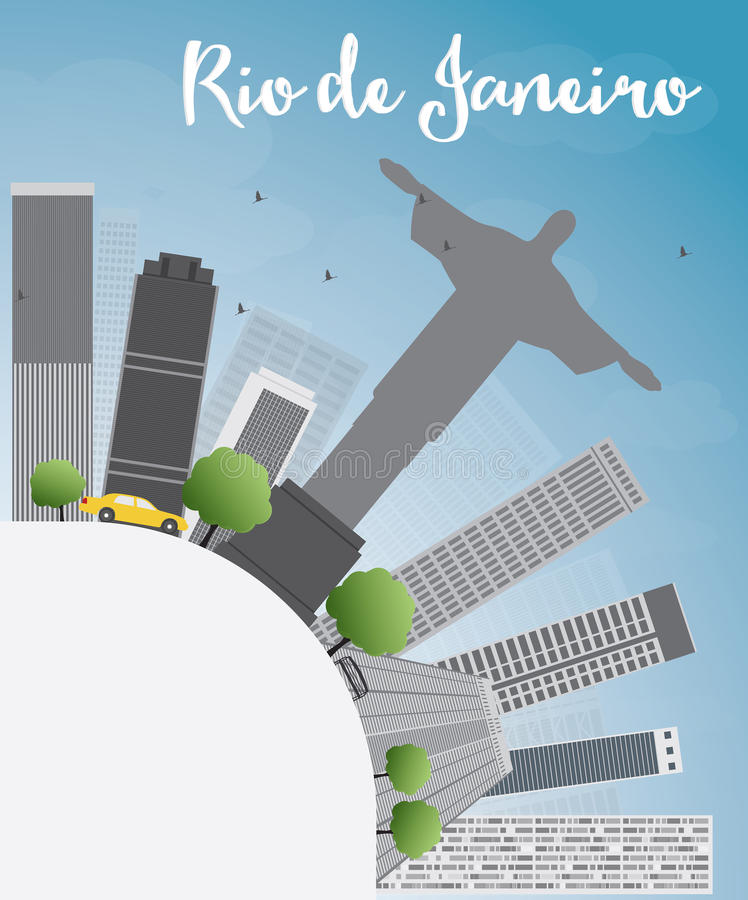 Download Horizon De Rio De Janeiro Avec Les Bâtiments Gris, Le Ciel Bleu Et Le PS De Copie Illustration de Vecteur - Illustration du brésilien, cityscape: 56488678