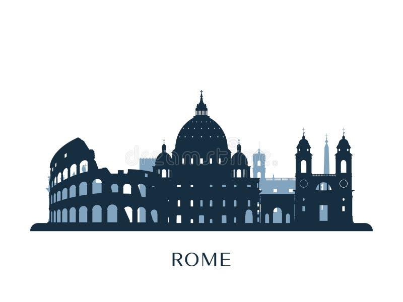 Horizon de Rome, silhouette monochrome illustration libre de droits