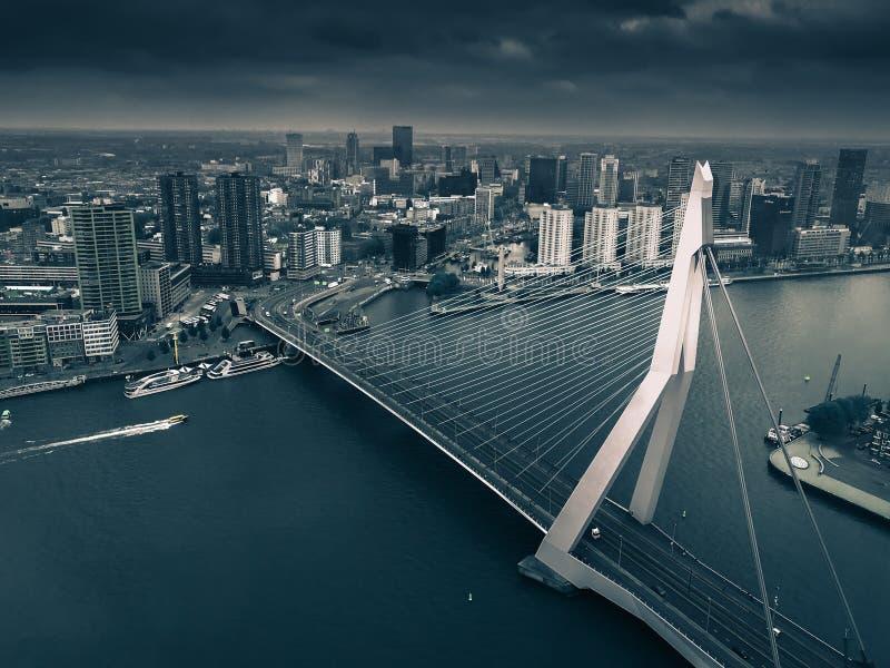 Horizon de Rotterdam avec le pont d'Erasmus photographie stock libre de droits