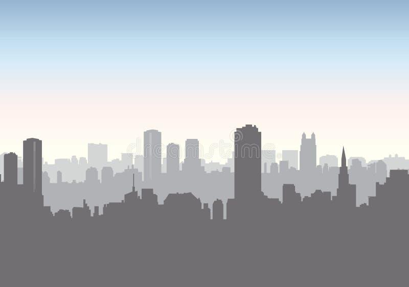 Horizon de rue de ville Bâtiment urbain de paysage, gratte-ciel Citys illustration de vecteur