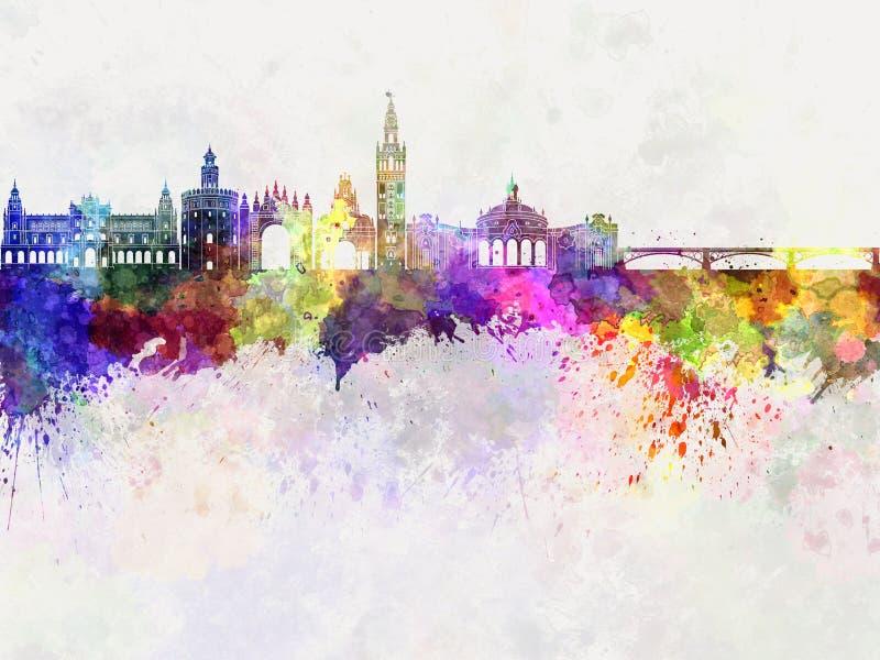 Horizon de Séville dans l'aquarelle illustration stock