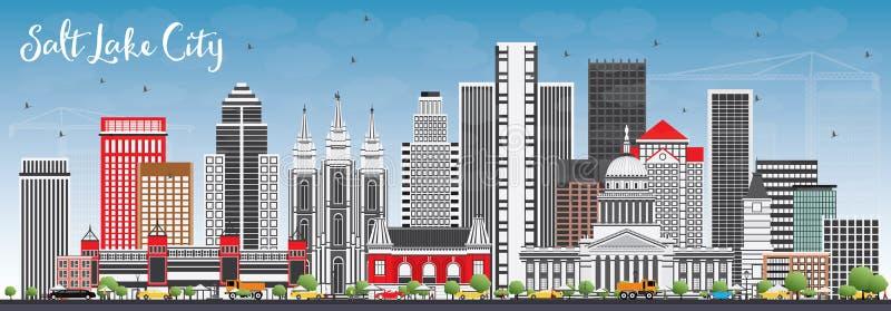 Horizon de Salt Lake City avec Gray Buildings et le ciel bleu illustration de vecteur