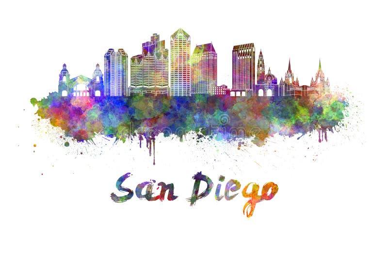 Horizon de San Diego dans l'aquarelle illustration libre de droits
