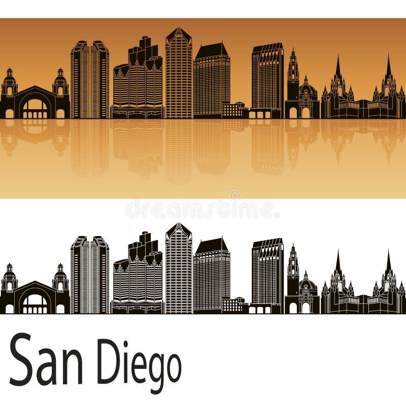 Horizon de San Diego dans l'orange illustration de vecteur