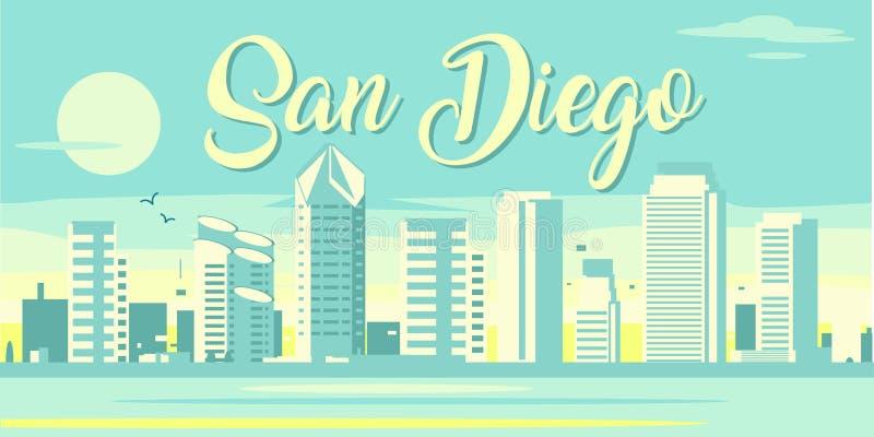 Horizon de San Diego la Californie illustration de vecteur