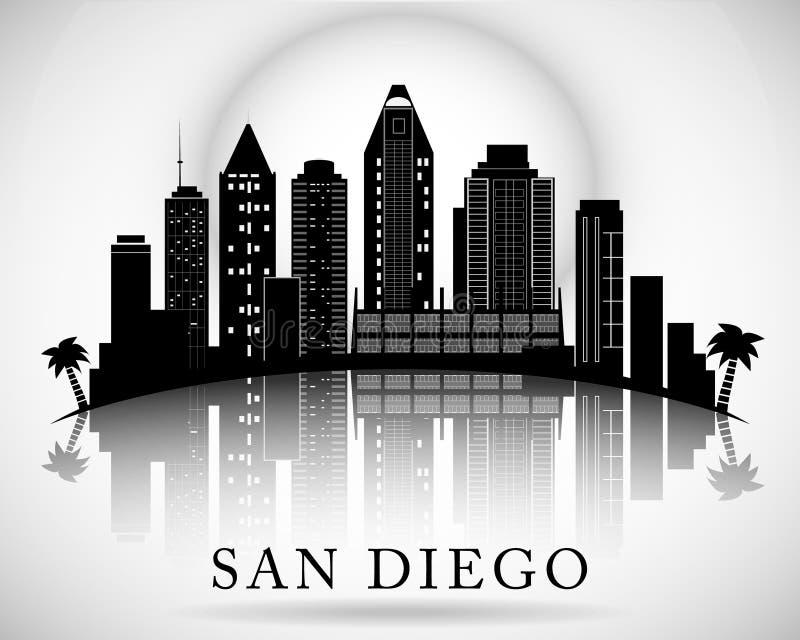 Horizon de San Diego Silhouette de ville illustration stock