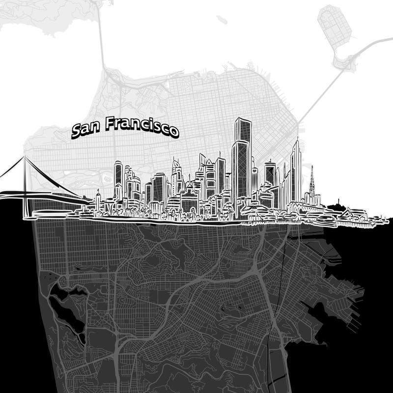 Horizon de San Francisco avec la carte illustration libre de droits