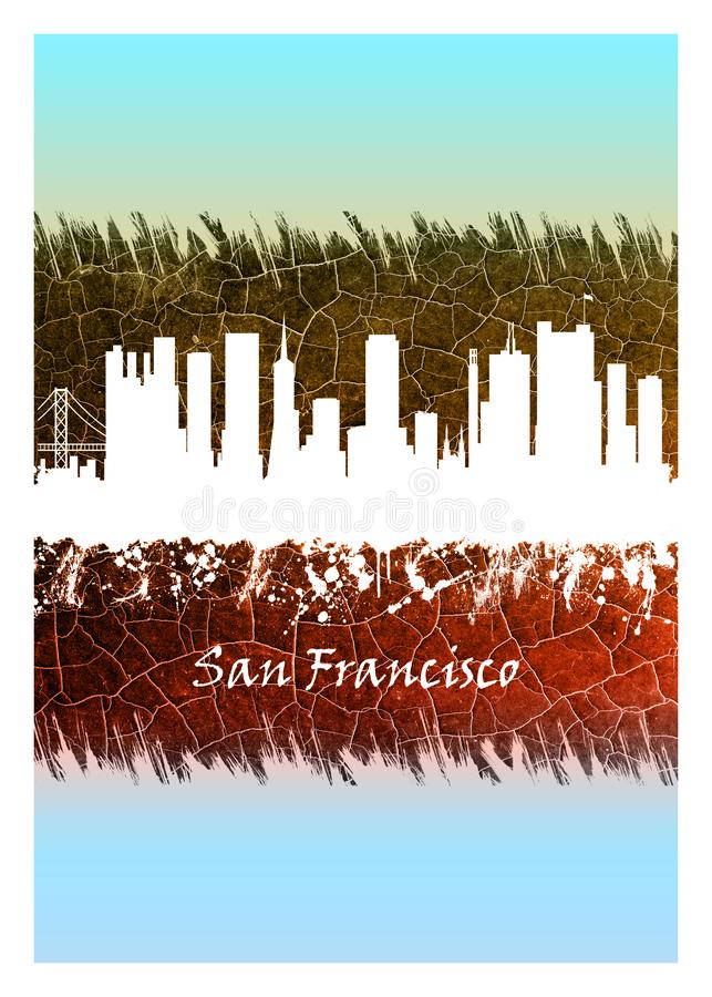 Horizon de San Francisco bleu et blanc illustration stock