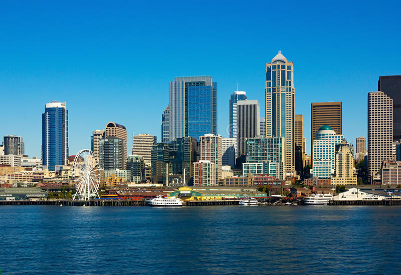 Horizon de Seattle, l'état de Washington photo libre de droits