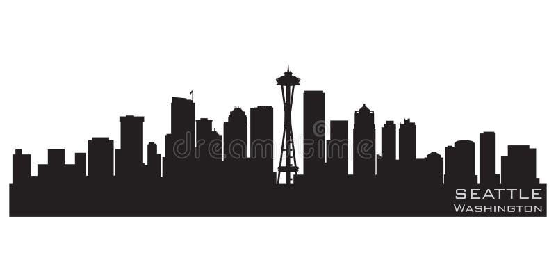 Horizon de Seattle, Washington Silhouette détaillée de vecteur illustration de vecteur