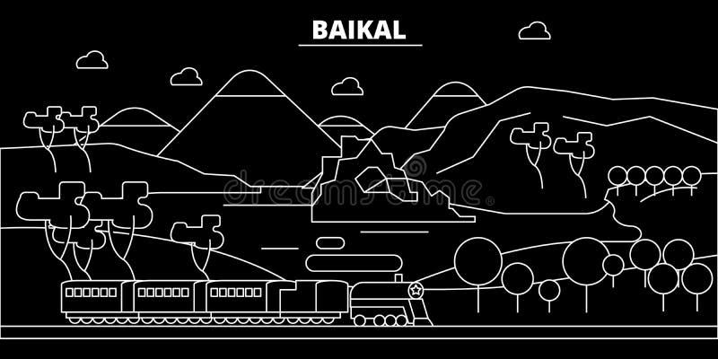 Horizon de silhouette de Baikal Ville de vecteur de la Russie - de Baikal, architecture linéaire russe, bâtiments Voyage de Baika illustration de vecteur