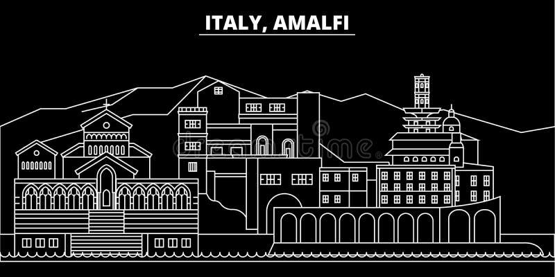 Horizon de silhouette d'Amalfi Ville de vecteur de l'Italie - d'Amalfi, architecture linéaire italienne, bâtiments Voyage d'Amalf illustration stock