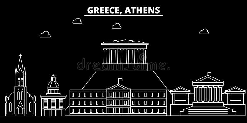 Horizon de silhouette d'Athènes Ville de vecteur de la Grèce - d'Athènes, architecture linéaire grecque, bâtiments Illustration d illustration stock