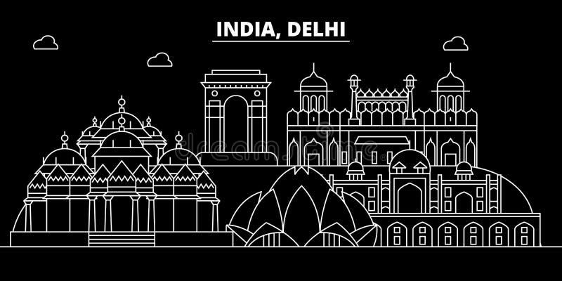 Horizon de silhouette de Delhi Inde - ville de vecteur de Delhi, architecture linéaire indienne, bâtiments Illustration de voyage illustration stock