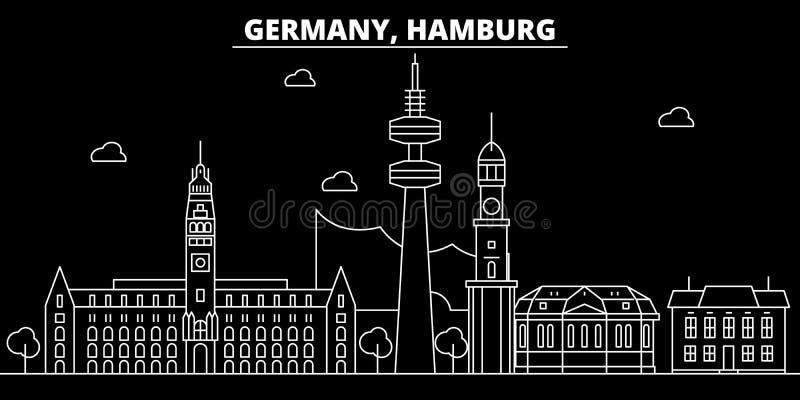 Horizon de silhouette de Hambourg Ville de vecteur de l'Allemagne - de la Hambourg, architecture linéaire allemande, bâtiments Vo illustration de vecteur