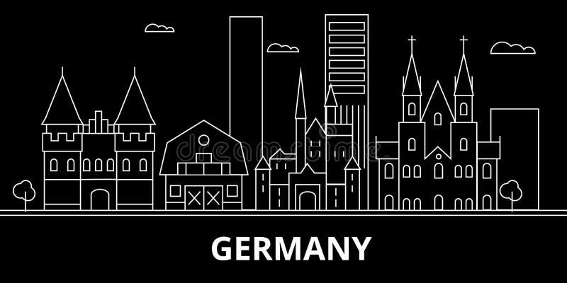 Horizon de silhouette de l'Allemagne Ville de vecteur de l'Allemagne, architecture linéaire allemande, illustration de buildingtr illustration libre de droits