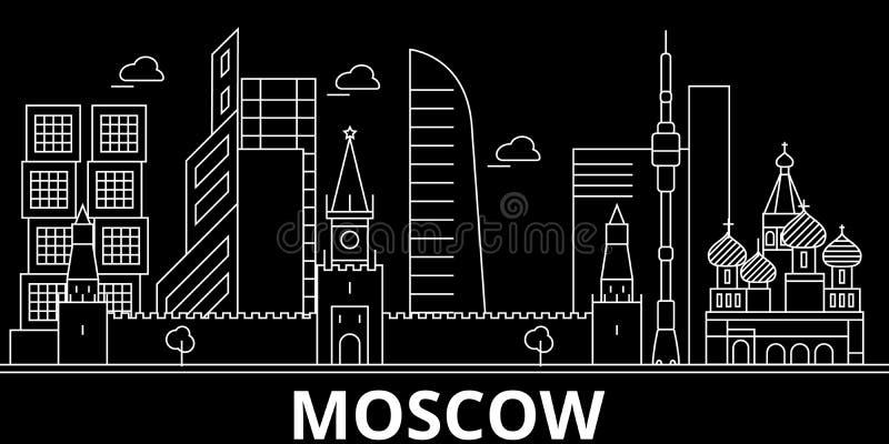 Horizon de silhouette de Moscou Ville de vecteur de la Russie - de Moscou, architecture linéaire russe, bâtiments Voyage de Mosco illustration libre de droits