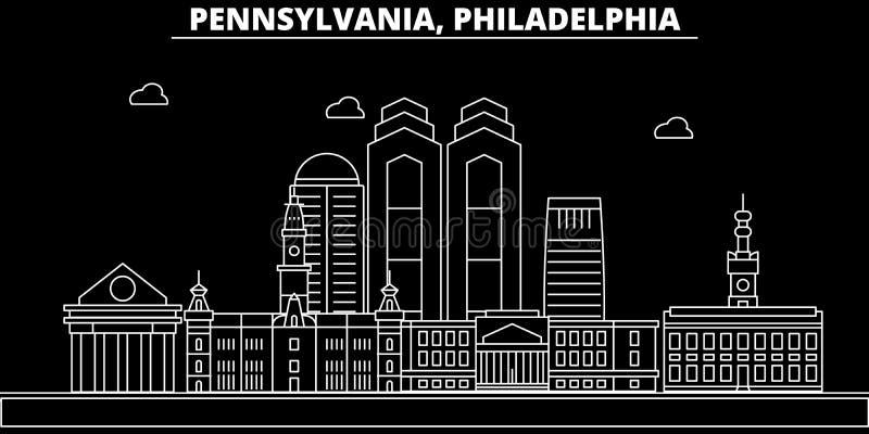 Horizon de silhouette de Philadelphie LES Etats-Unis - Ville de vecteur de Philadelphie, architecture linéaire américaine, bâtime illustration libre de droits