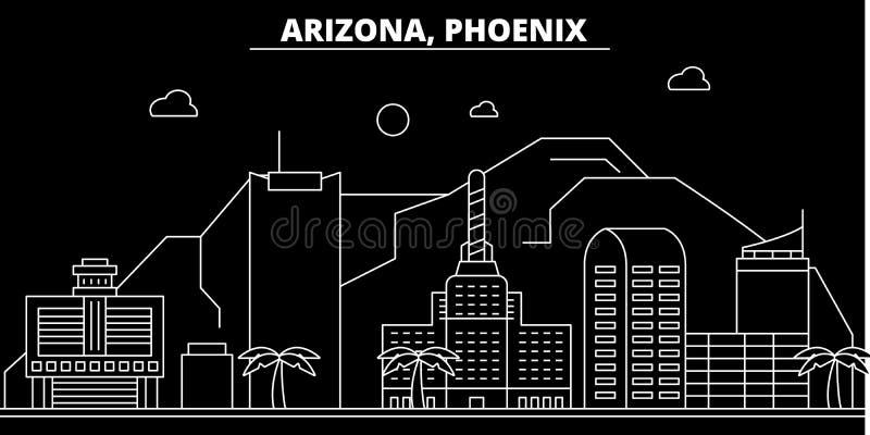 Horizon de silhouette de Phoenix LES Etats-Unis - Ville de vecteur de Phoenix, architecture linéaire américaine, bâtiments Voyage illustration de vecteur