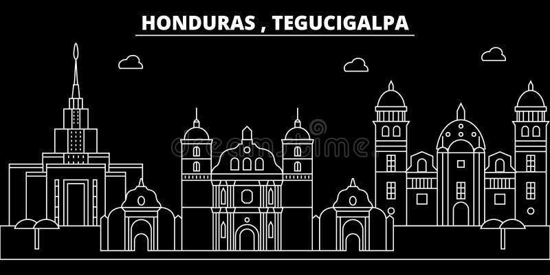 Horizon de silhouette de Tegucigalpa Ville de vecteur du Honduras - de Tegucigalpa, architecture linéaire hondurienne Voyage de T illustration libre de droits