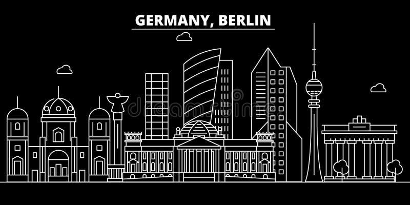 Horizon de silhouette de ville de Berlin Ville de vecteur de ville de l'Allemagne - du Berlin, architecture linéaire allemande, b illustration libre de droits