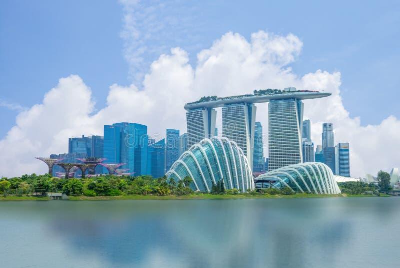 Horizon de Singapour à la baie de marina images libres de droits