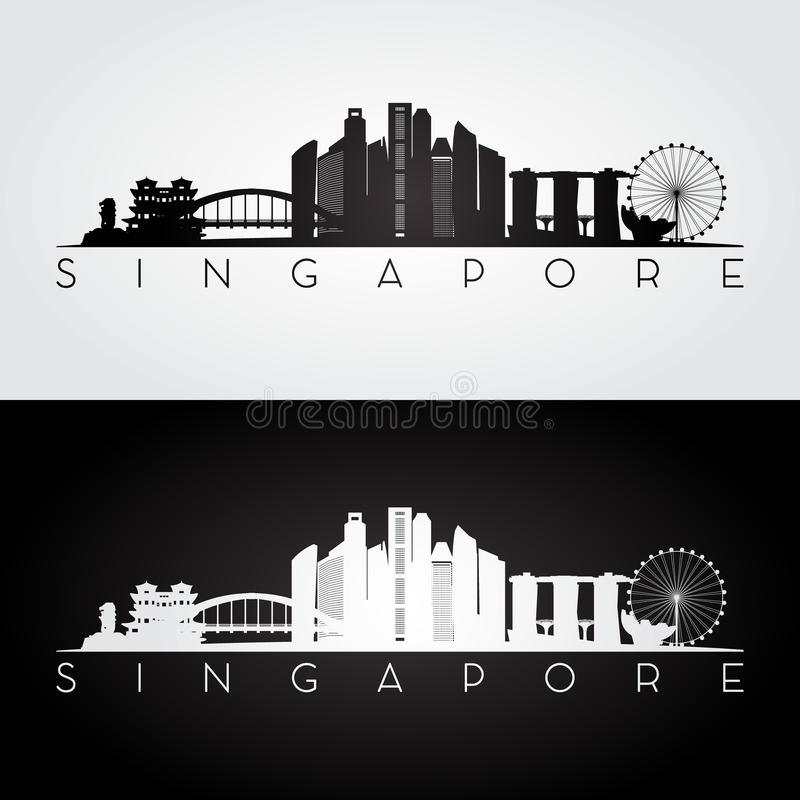 Horizon de Singapour et silhouette de points de repère illustration stock