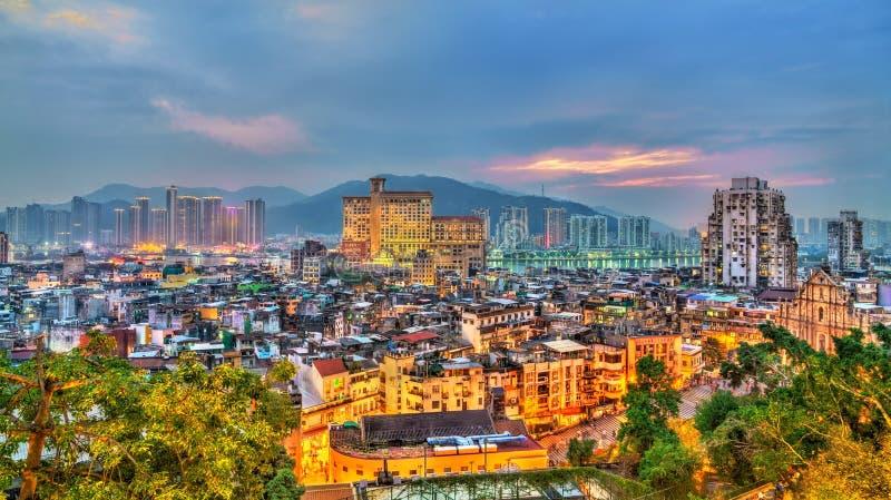 Horizon de soirée de Macao, Chine image libre de droits
