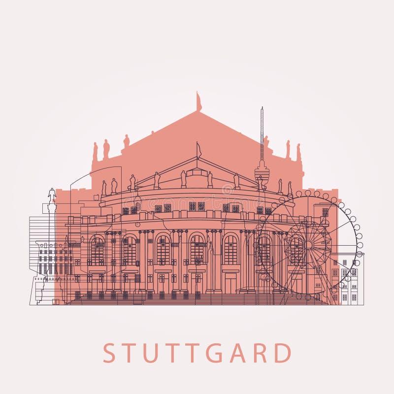 Horizon de Stuttgart d'ensemble avec des points de repère illustration de vecteur
