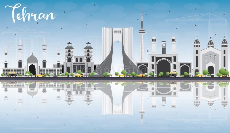Horizon de Téhéran avec Gray Landmarks, le ciel bleu et les réflexions illustration de vecteur