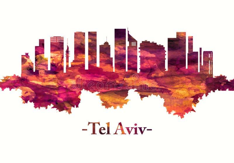 Horizon de téléphone Aviv Israel en rouge illustration stock