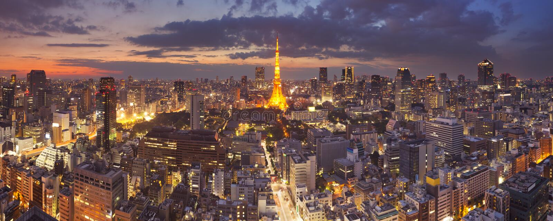 Horizon de Tokyo, Japon avec la tour de Tokyo la nuit photo stock
