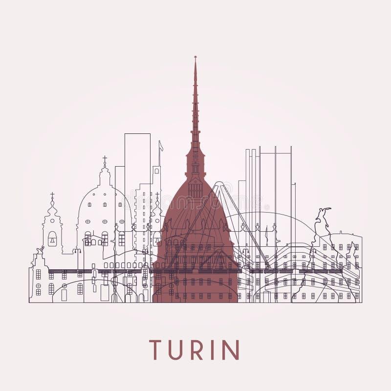 Horizon de Turin d'ensemble avec des points de repère illustration libre de droits