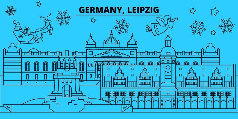 Horizon de vacances d'hiver de l'Allemagne, Leipzig Le Joyeux Noël, bonne année a décoré la bannière avec Santa Claus l'allemagne illustration libre de droits