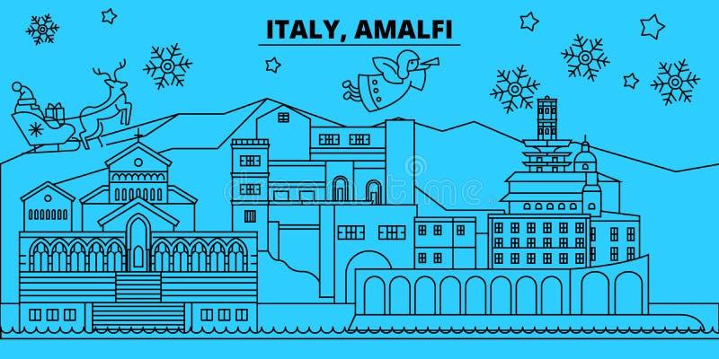 Horizon de vacances d'hiver de l'Italie, Amalfi Le Joyeux Noël, bonne année a décoré la bannière avec Santa Claus l'Italie, Amalf illustration libre de droits