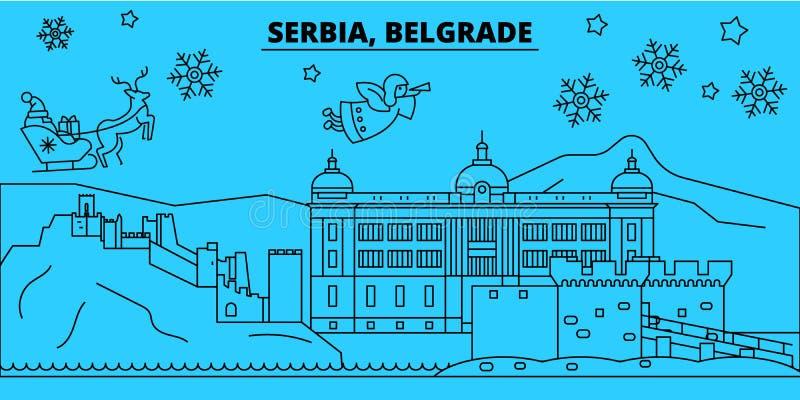 Horizon de vacances d'hiver de la Serbie, Belgrade Le Joyeux Noël, bonne année a décoré la bannière avec Santa Claus serbia illustration libre de droits