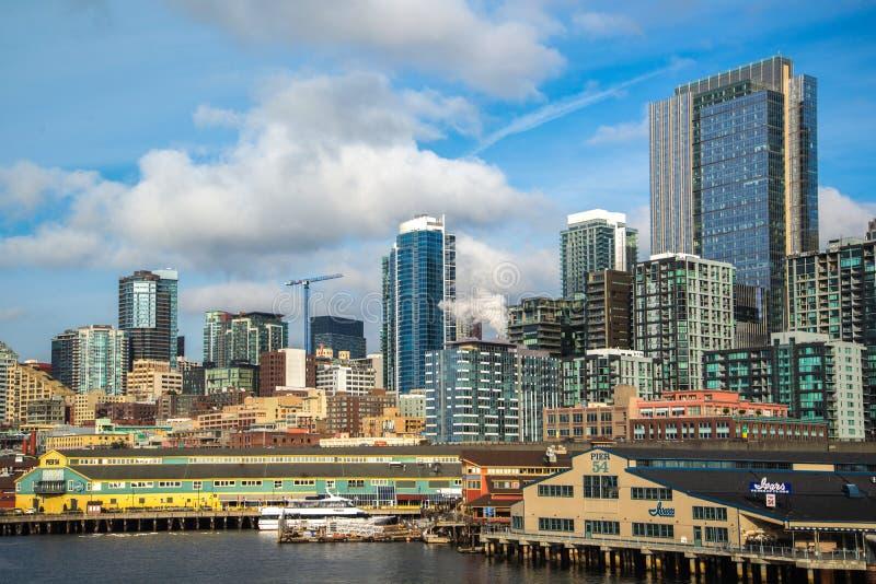 Horizon de van de binnenstad van Seattle, Washington royalty-vrije stock fotografie
