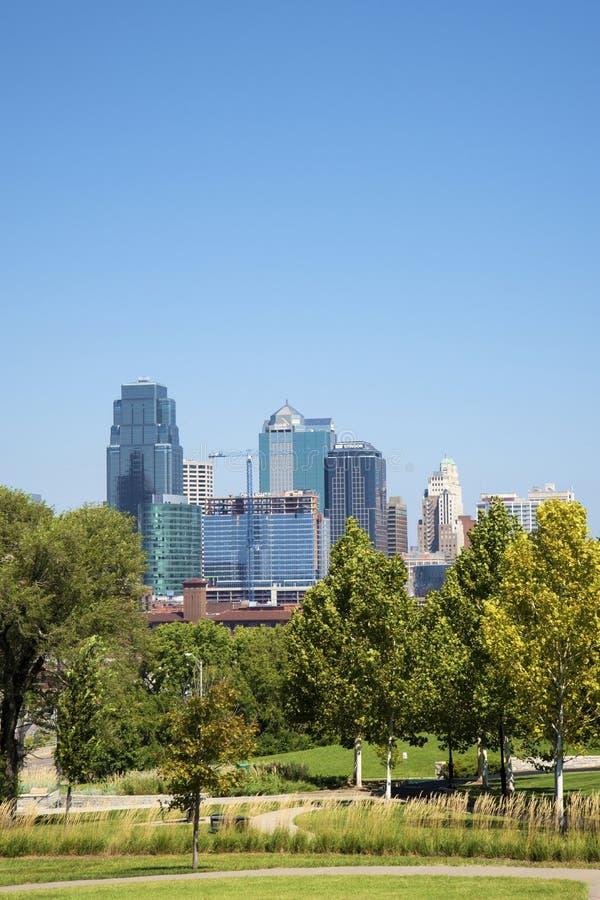 Horizon de van de binnenstad van de stadsmissouri de V.S. van Kansas royalty-vrije stock foto's