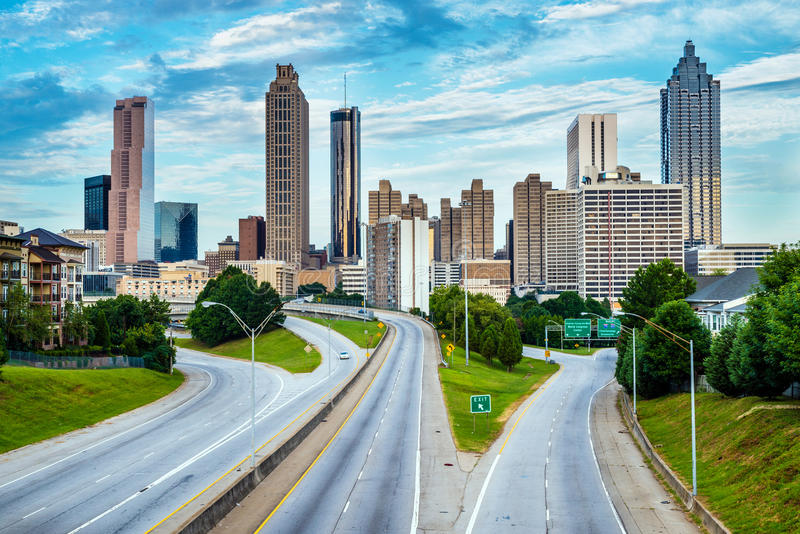 Horizon de van de binnenstad van Atlanta stock afbeelding
