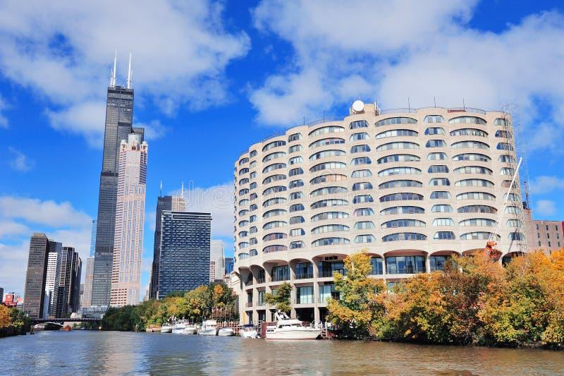 Horizon de van de binnenstad van Chicago royalty-vrije stock afbeeldingen