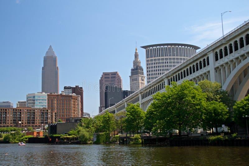 Horizon de van de binnenstad van Cleveland Ohio stock foto