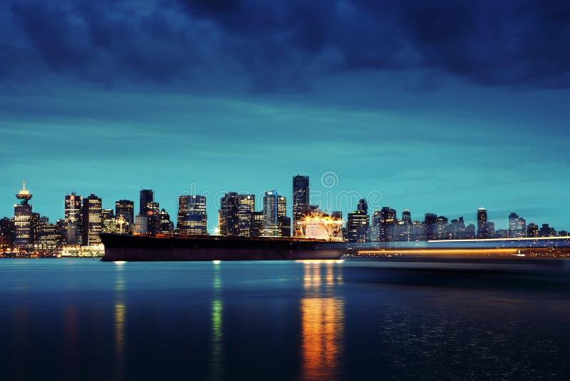 Horizon de Vancouver par nuit image libre de droits