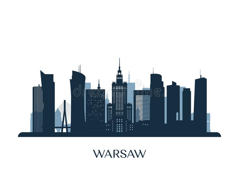 Horizon de Varsovie, silhouette monochrome illustration stock
