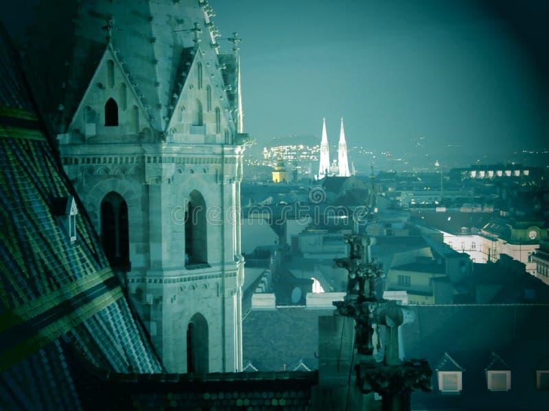 Horizon de Vienne la nuit photo libre de droits