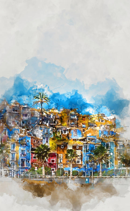 Horizon de Villajoyosa l'espagne illustration de vecteur