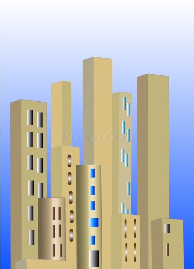 Horizon de ville d'or illustration libre de droits
